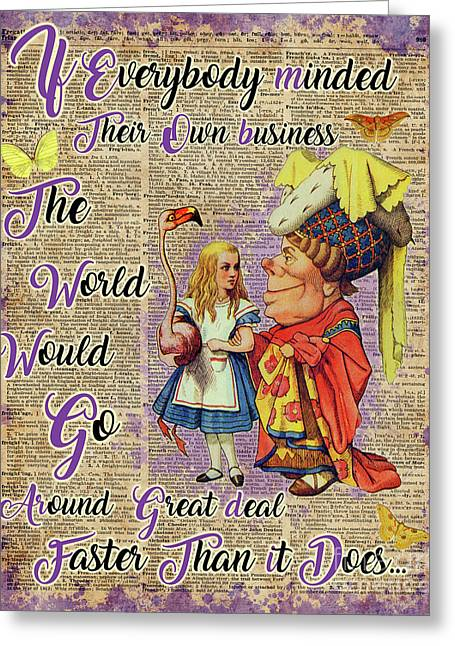 Alice With The Duchess Vintage Dictionary Art Greeting Card