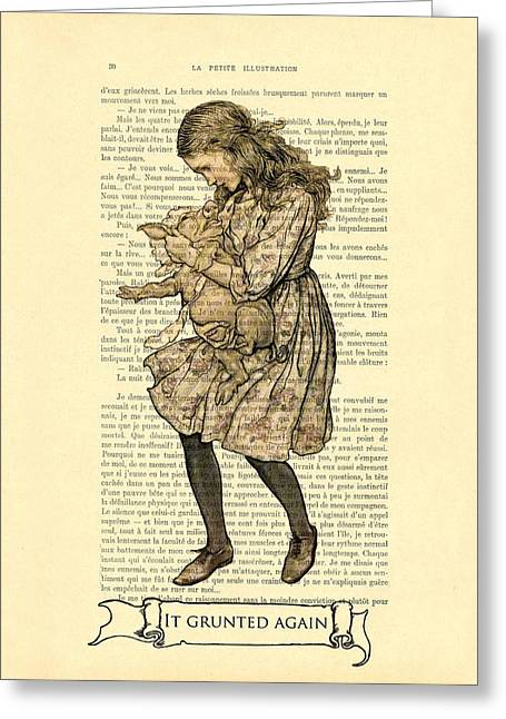 Alice In Wonderland With The Pig Greeting Card
