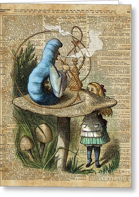Alice,mushroom And Jin,vintage Dictionary Art Greeting Card