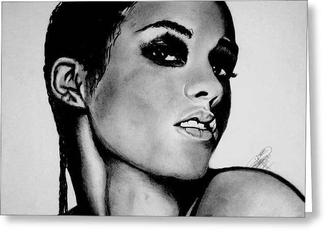 Alicia Keys Drawing Greeting Card by Keeyonardo