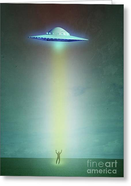Alien Abduction Greeting Card by Edward Fielding