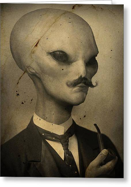 Alien Greeting Card by Alex Johnson