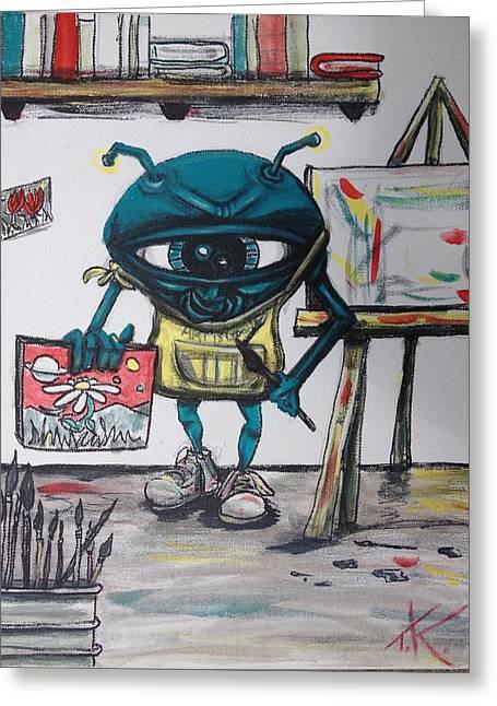 Alien Artist Greeting Card