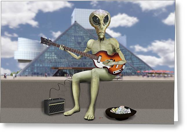 Alien Bass Guitarist  Greeting Card by Mike McGlothlen