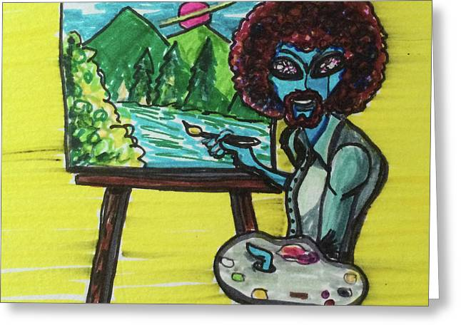 alien Bob Ross Greeting Card
