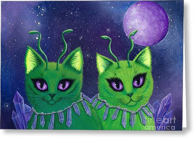 Alien Cats Greeting Card