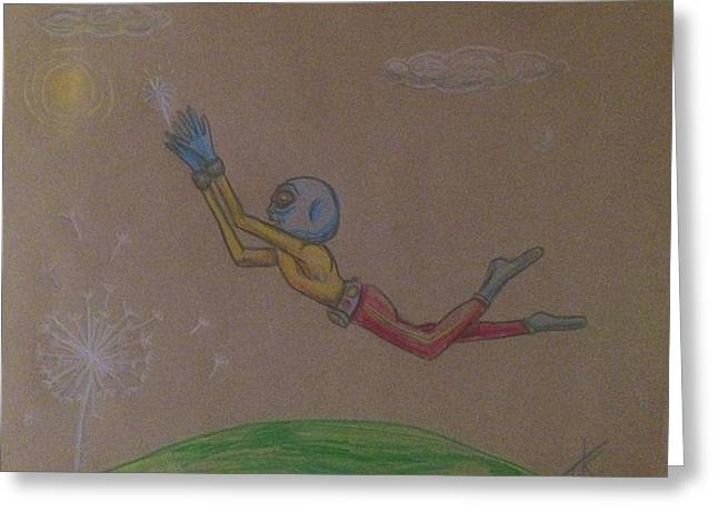 Greeting Card featuring the drawing Alien Chasing His Dreams by Similar Alien
