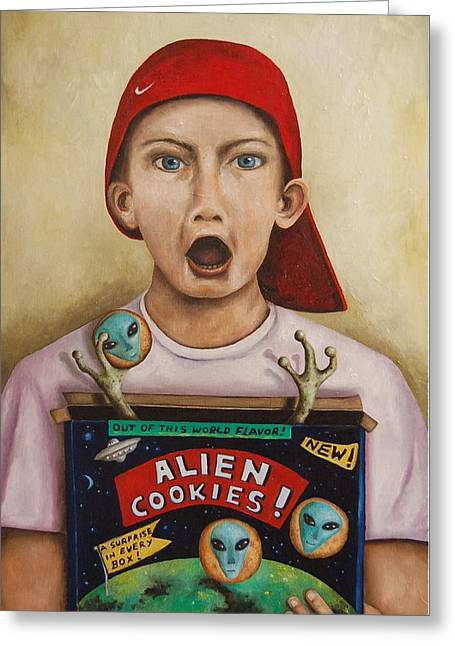 Alien Cookies Greeting Card by Leah Saulnier The Painting Maniac
