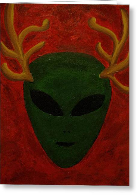 Alien Deer Greeting Card by Lola Connelly