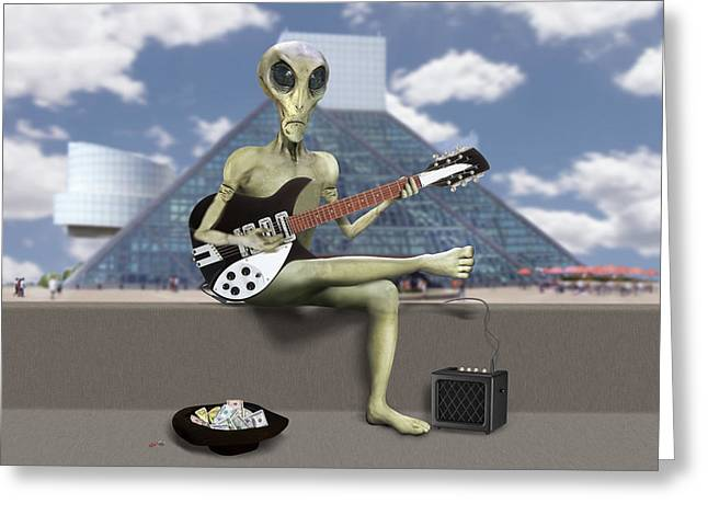 Alien Guitarist 1 Greeting Card