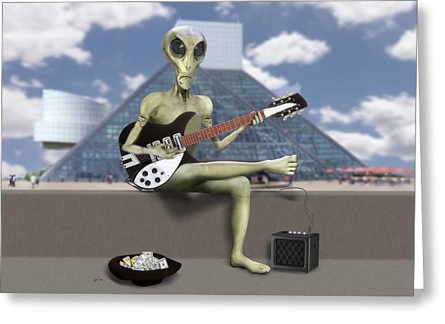 Alien Guitarist 1 Greeting Card