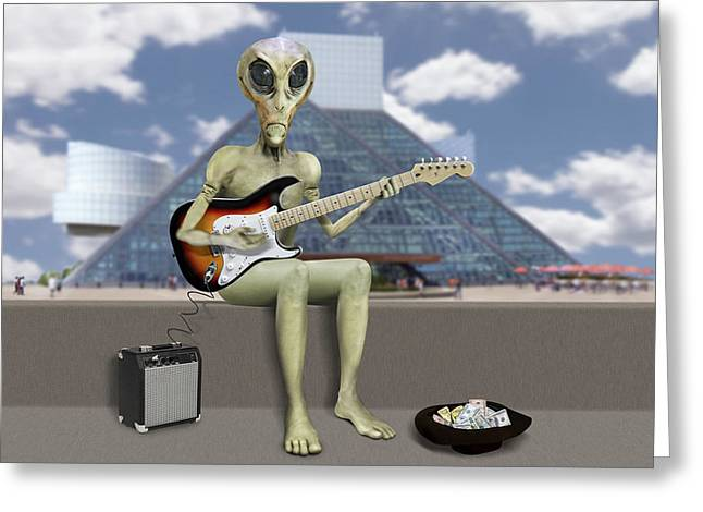 Alien Guitarist 2 Greeting Card