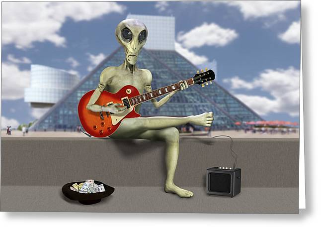 Alien Guitarist 3 Greeting Card