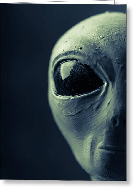 Alien Half Profile Phone Case Greeting Card by Edward Fielding