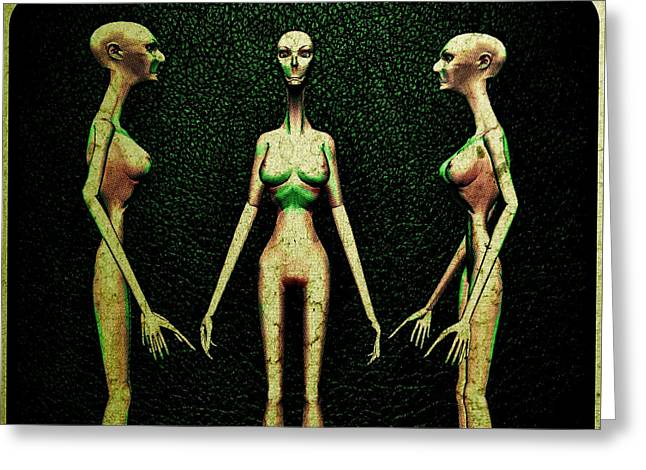 Alien Hybrid Woman Greeting Card by Raphael Terra