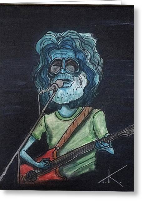 Greeting Card featuring the painting Alien Jerry Garcia by Similar Alien