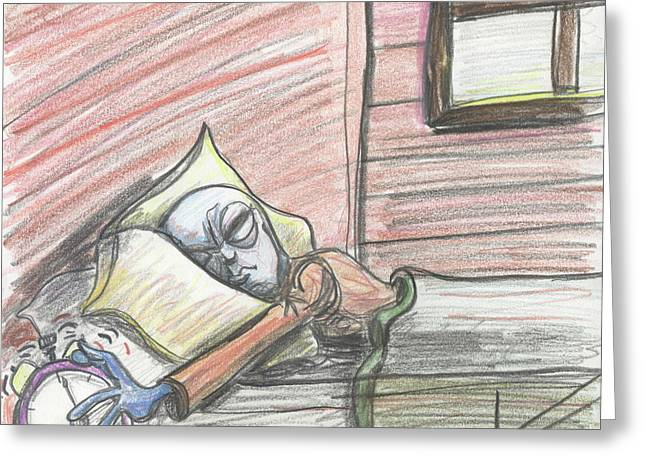 Alien Keeps Snoozin Greeting Card