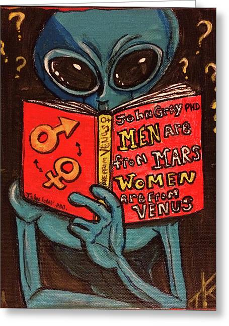 Alien Looking For Answers About Love Greeting Card
