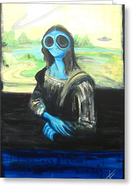 Greeting Card featuring the painting alien Mona Lisa by Similar Alien