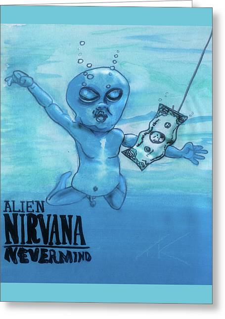 Greeting Card featuring the painting Alien Nevermind by Similar Alien