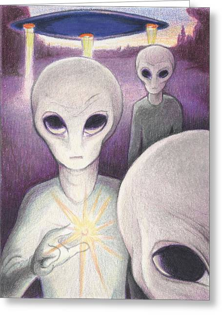 Alien Offering Greeting Card by Amy S Turner