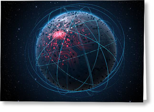Alien Planet With Illuminated Network And Light Trails Greeting Card