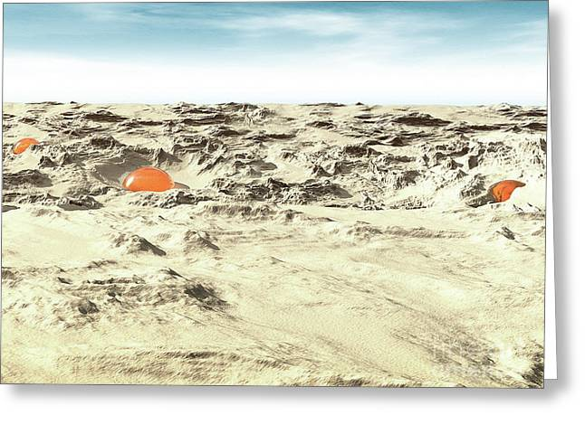 Alien Pods In Desert Greeting Card by Phil Perkins