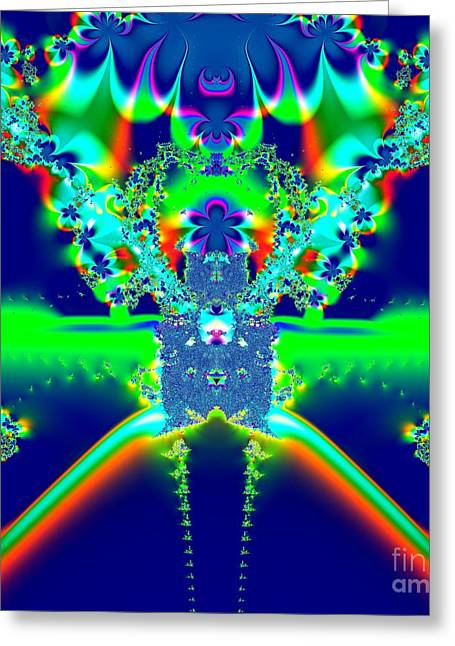 Alien Poodle Fractal 96 Greeting Card