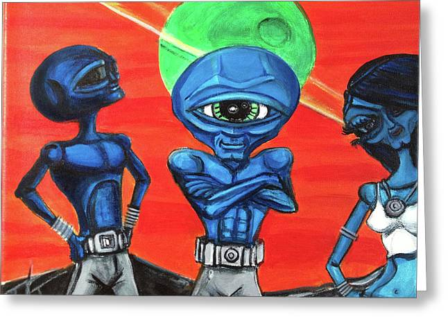 Greeting Card featuring the painting Alien Posse by Similar Alien