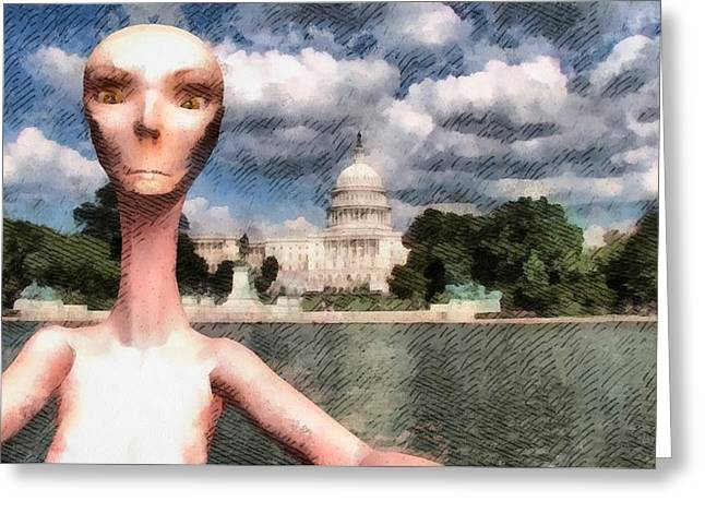Alien Selfie In Washington Greeting Card
