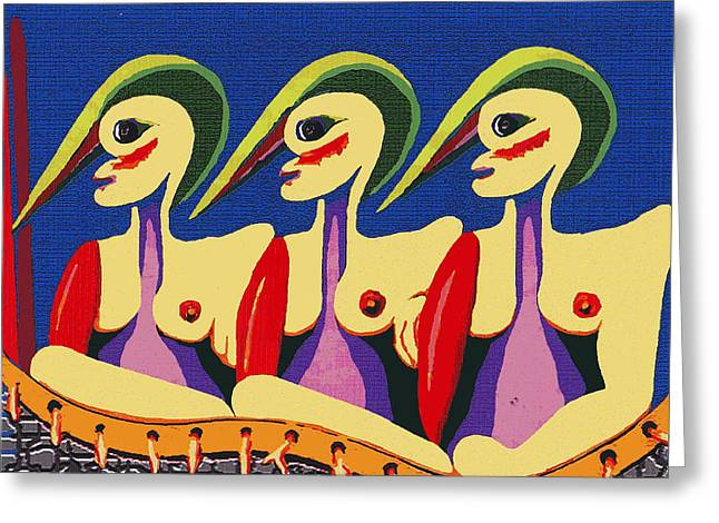 Alien Sisters Greeting Card by Bill Thomson
