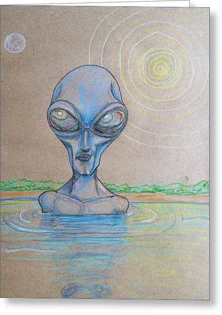 Greeting Card featuring the drawing Alien Submerged by Similar Alien
