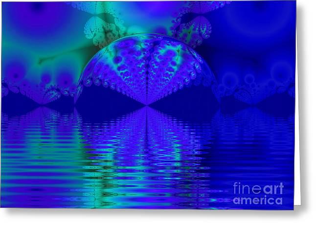 Alien Sunset Over Fantasy Lake Greeting Card
