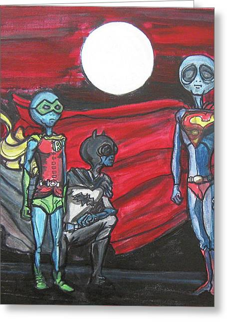 Alien Superheros Greeting Card