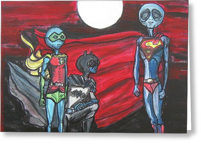 Greeting Card featuring the painting Alien Superheros by Similar Alien