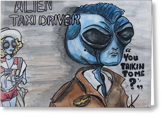 Alien Taxi Driver Greeting Card