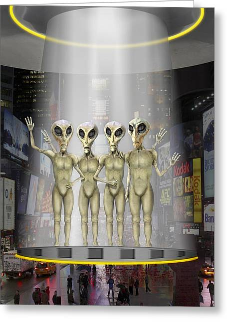 Alien Vacation - Beamed Up From Time Square Greeting Card by Mike McGlothlen