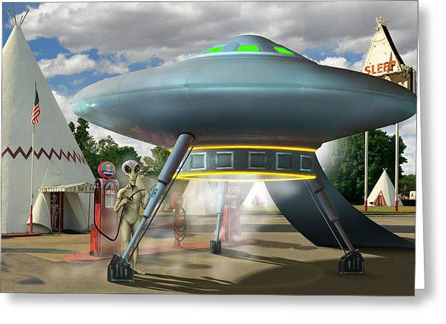 Alien Vacation - Gasoline Stop Greeting Card