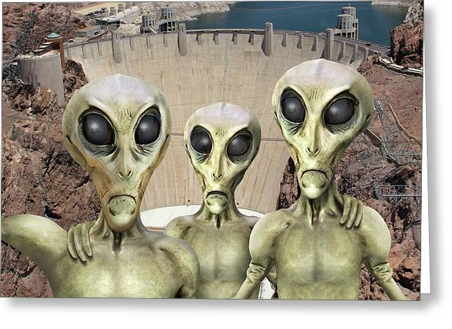 Alien Vacation - Hoover Dam Greeting Card by Mike McGlothlen