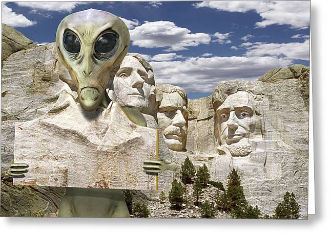 Alien Vacation - Mount Rushmore Greeting Card