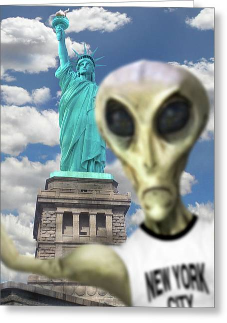 Alien Vacation - New York City 2 Greeting Card by Mike McGlothlen