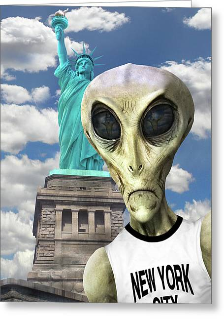 Alien Vacation - New York City 3 Greeting Card