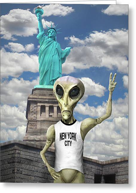 Alien Vacation - New York City Greeting Card by Mike McGlothlen