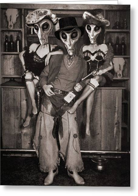 Alien Vacation - Old Time Photo Greeting Card