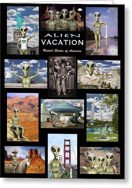 Alien Vacation - Poster Greeting Card by Mike McGlothlen