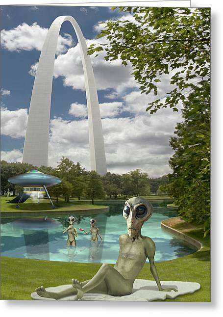 Alien Vacation - St. Louis Greeting Card by Mike McGlothlen