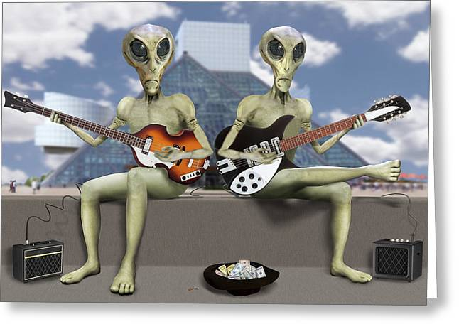 Alien Vacation - Trying To Make Ends Meet Greeting Card by Mike McGlothlen