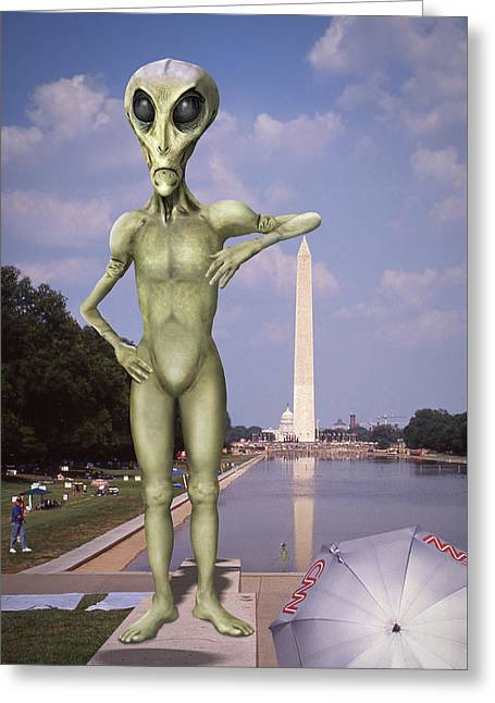 Alien Vacation - Washington D C Greeting Card by Mike McGlothlen
