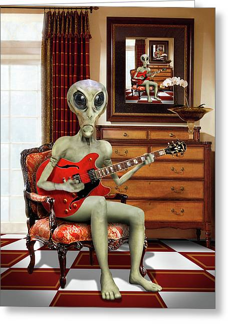 Alien Vacation - We Roll With Jazz Greeting Card by Mike McGlothlen