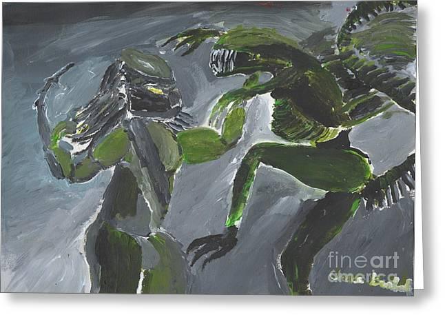 Alien Vs Preditor Greeting Card by Christopher Kralicek